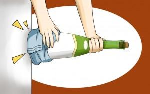 откупоривание бутылки постукиванием