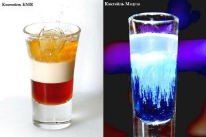 коктейли с ликером малибу БМВ и Медуза с блю кюрасао